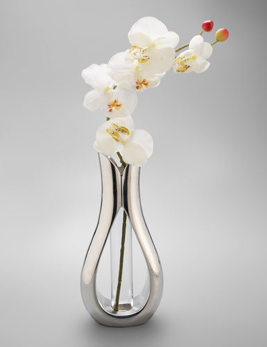 Nambe Tulip Bud Vase with Orchid