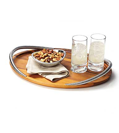 Nambe Metal and Wood Braid Serving Tray