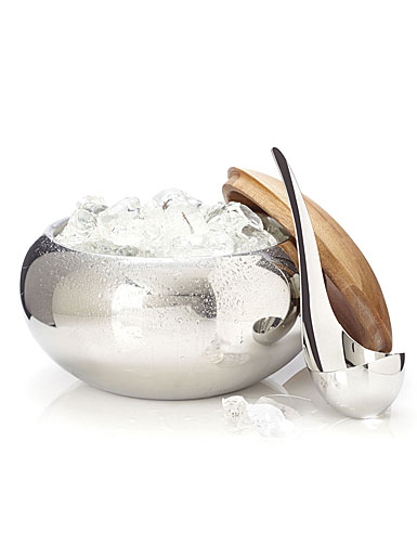 Nambe Metal and Wood Gourmet Scoop Ice Bucket