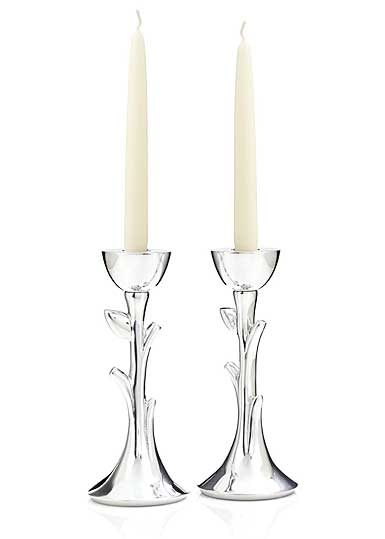 Nambe Metal Tree of Life Sabbath Candlesticks, Pair