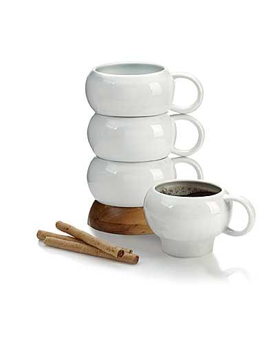 Nambe Wood Gourmet Bulbo Mug Stack, Set of Four