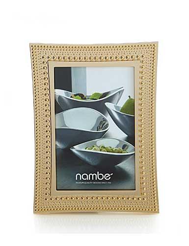 """Nambe Metal Beaded Gold 4x6"""" Frame"""