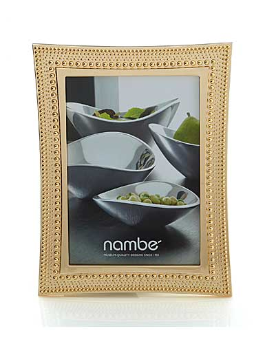 "Nambe Metal Beaded Gold 5x7"" Picture Frame"