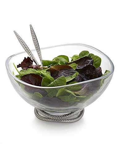 Nambe Braid Salad Bowl With Metal Servers