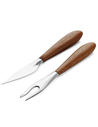 Nambe Curvo Metal and Wood Cheese Knife and Fork Set