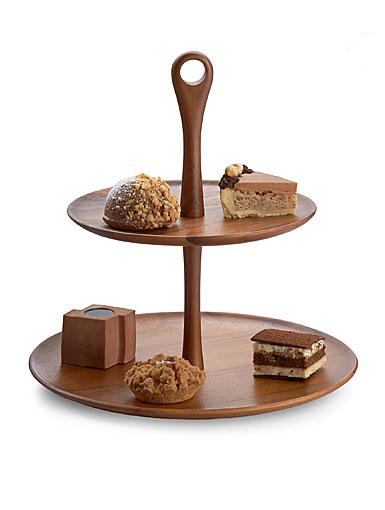 Nambe Skye Wood Tiered Dessert Stand