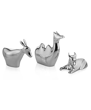 Nambe Metal Mini Nativity Three Animals, Donkey, Camel, Bull