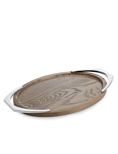 Nambe Metal and Wood Cabo Oval Handled Tray