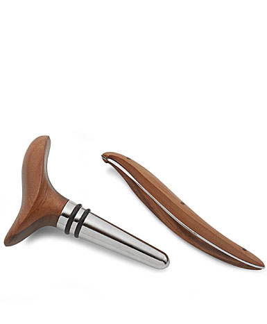 Nambe Metal and Wood Vie Wine Stopper and Foil Cutter Set