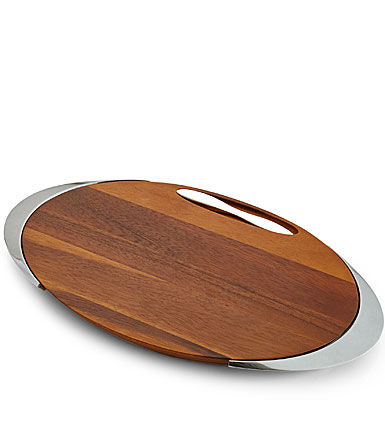 Nambe Wood and Metal Eclipse Cheese Board with Knife