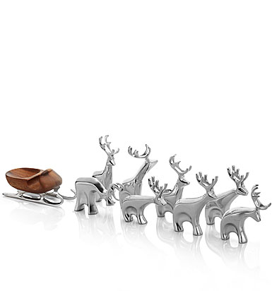 Nambe Metal 9-Piece Miniature Reindeer Set