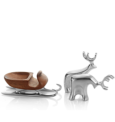 Nambe Mini Christmas Sleigh with Reindeer