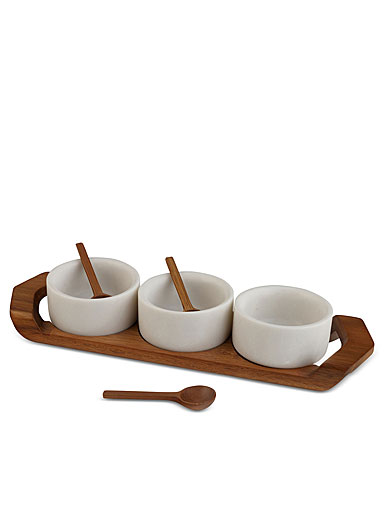 Nambe Chevron Condiment Tray Set with Spoons