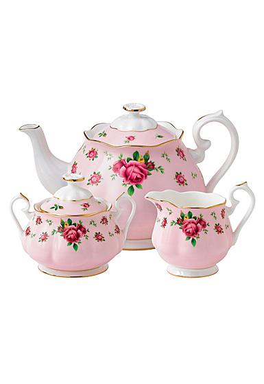 Royal Albert New Country Roses Pink Teapot, Sugar and Creamer Set