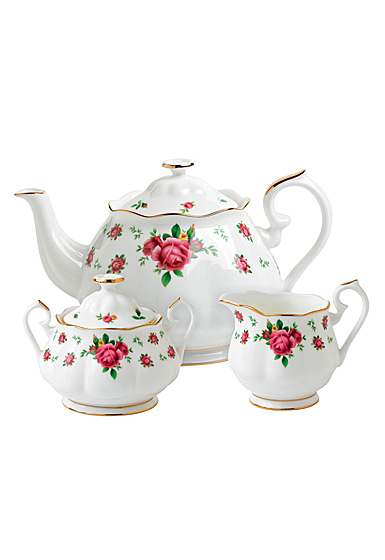Royal Albert New Country Roses White Teapot, Sugar and Creamer Set