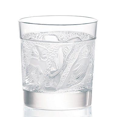 Lalique Crystal, Owl Crystal Old Fashioned Tumblers, Pair
