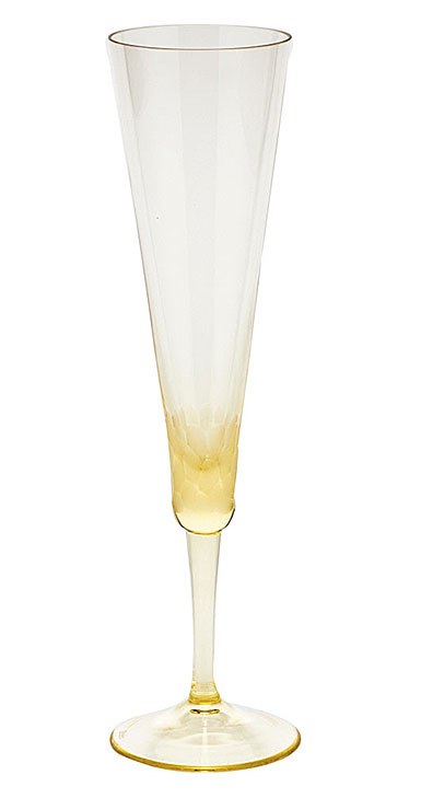 Moser Crystal Pebbles Champagne Flute, Eldor Yellow, Single