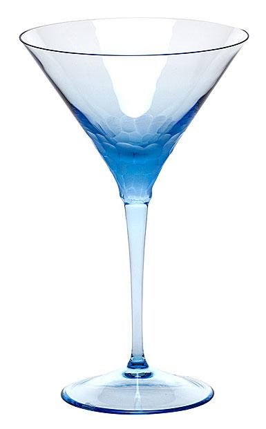 Moser Crystal Pebbles Martini Glass, Aquamarine, Single