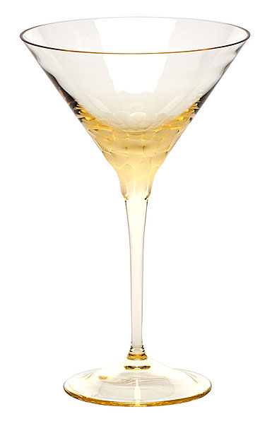 Moser Crystal Pebbles Martini Glass, Eldor Yellow, Single