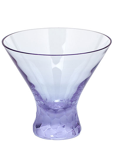 Moser Crystal Pebbles Stemless Martini Glass, Alexandrite Purple, Single