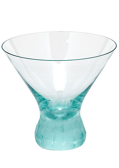 Moser Crystal Pebbles Stemless Martini Glass, Beryl Green, Single