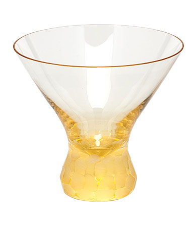 Moser Crystal Pebbles Stemless Martini Glass, Eldor Yellow, Single