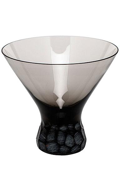 Moser Crystal Pebbles Stemless Martini Glass, Smoke, Single