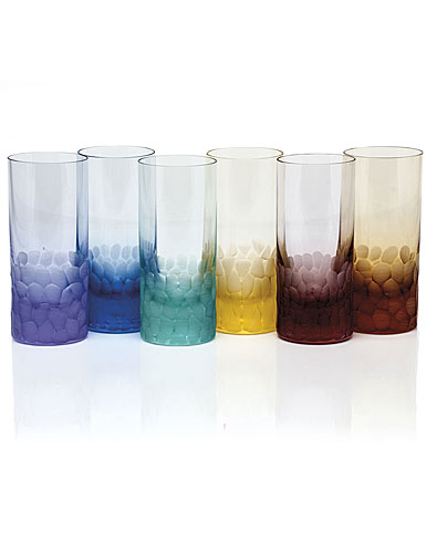 Moser Crystal Pebbles Hiball Glasses, Set of 6, Rainbow Colors