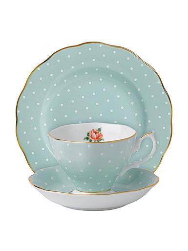 "Royal Albert Polka Rose Teacup, Saucer and 8"" Plate Set"