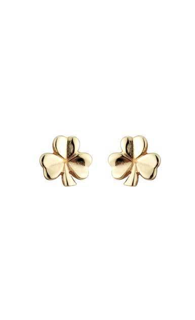 Cashs Ireland, 18K Gold-Plated Shamrock Pierced Earrings Pair