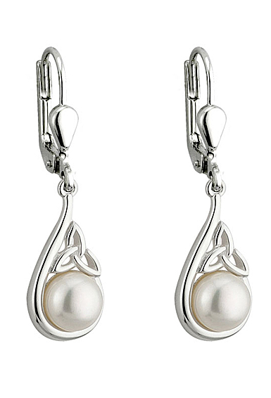 Cashs Ireland, Sterling Silver and Pearl Trinity Knot Earrings