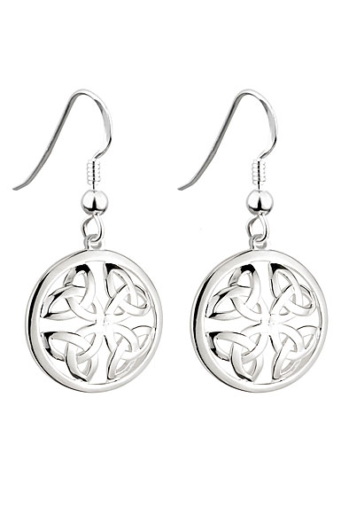 Cashs Ireland, Sterling Silver Round Trinity Knot Pierced Earrings Pair