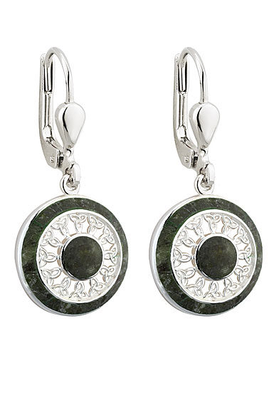 Cashs Ireland, Sterling Silver and Connemara Marble Round Trinity Earrings Pair