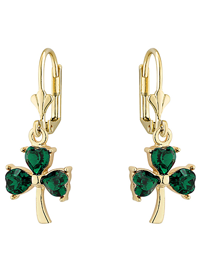 Cashs Ireland, Gold Plated Shamrock and Crystal Drop Earrings