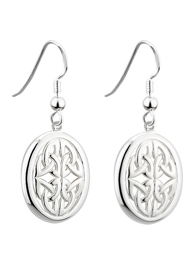 Cashs Ireland, Sterling Silver Oval Trinity Knot Drop Pierced Earrings Pair