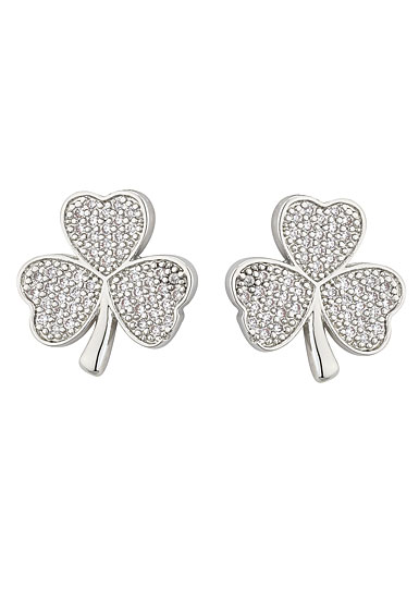 Cashs Ireland, Rhodium Shamrock Pierced Earrings Pair