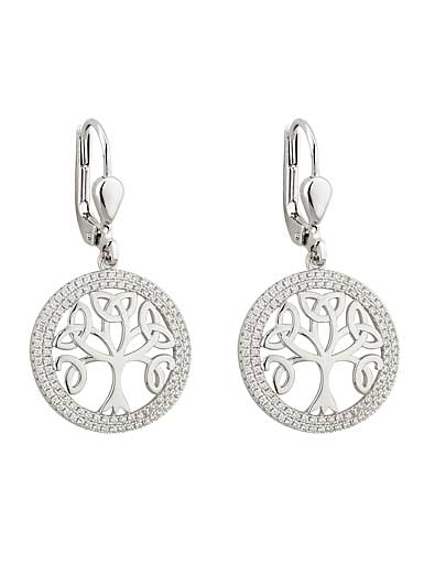 Cashs Ireland, Crystal Pave Sterling Silver Tree of Life Drop Pierced Earrings Pair