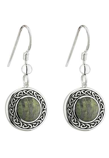Cashs Ireland, Sterling Silver and Connemara Marble Round Celtic Drop Earrings Pair