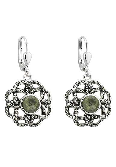 Cashs Ireland, Sterling Silver Marcasite and Marble Celtic Drop Pierced Earrings Pair