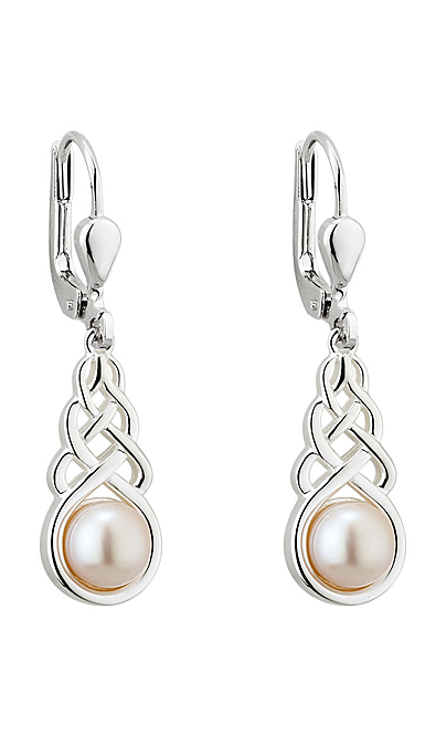 Cashs Ireland, Sterling Silver and Parrl Celtic Knot Earrings