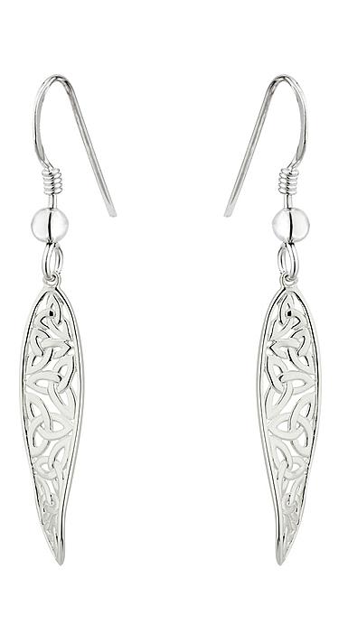 Cashs Ireland, Sterling Silver Long Trinity Knot Twist Earrings