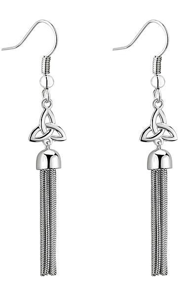 Cashs Ireland, Sterling Silver Trinity Knot Tassel Earrings