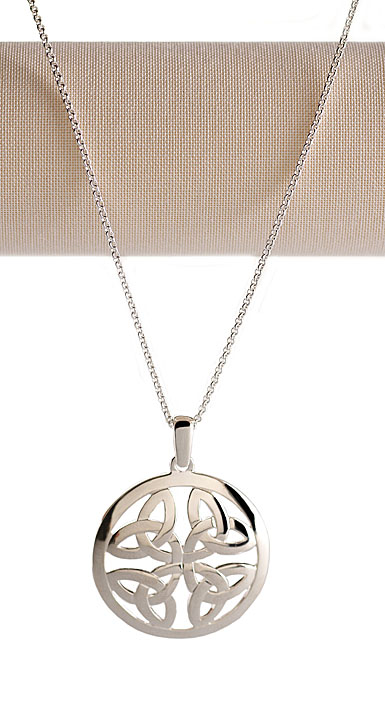 Cashs Ireland, Sterling Silver Round Trinity Knot Pendant Necklace