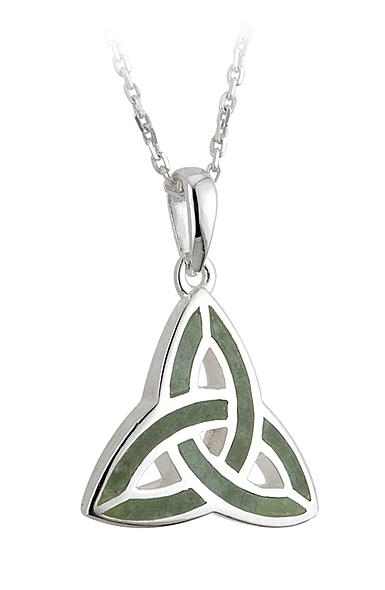 Cashs Ireland, Sterling Silver Connemara Marble Trinity Knot Pendant