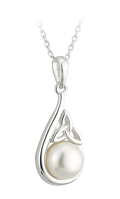 Cashs Ireland, Sterling Silver and Pearl Trinity Knot Pendant