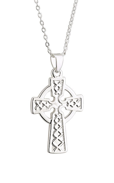 Cashs Ireland, Rhodium Celtic Cross Pendant Necklace
