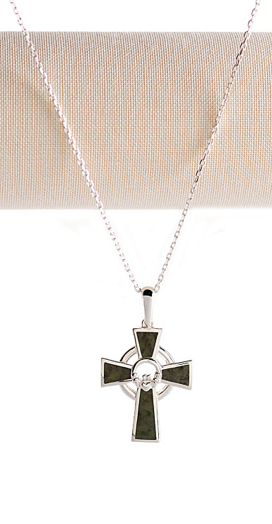 Cashs Ireland, Connemara Marble Sterling Silver Claddagh Cross Pendant Necklace