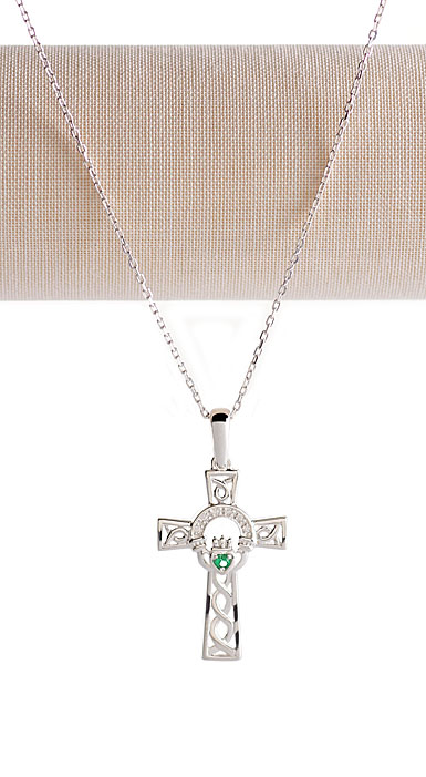 Cashs Ireland, Sterling Silver Celtic Cross Necklace With Claddagh Green Stone