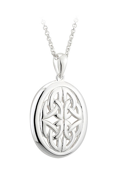 Cashs Ireland, Sterling Silver Oval Trinity Knot Pendant Necklace