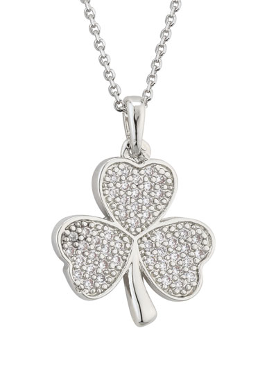 Cashs Ireland, Rhodium Shamrock Pendant Necklace